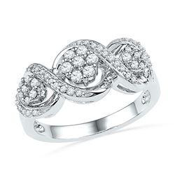Diamond Triple Flower Cluster Ring 1/3 Cttw 10kt White Gold