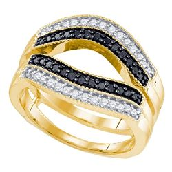 Round Black Color Enhanced Diamond Ring Guard Wrap Solitaire Enhancer 1/2 Cttw 10kt Yellow Gold