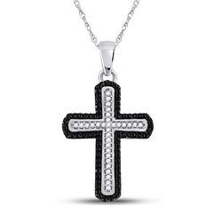 Round Black Color Enhanced Diamond Cross Pendant 1/5 Cttw 10kt White Gold