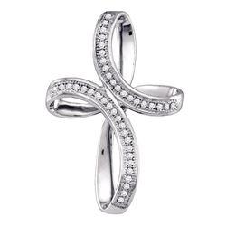 Diamond Oval Cross Pendant 1/8 Cttw 10kt White Gold