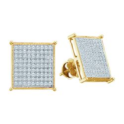 Diamond Square Cluster Stud Earrings 3/8 Cttw 10kt Yellow Gold