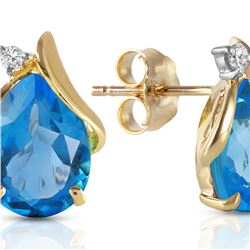 Genuine 5.06 ctw Blue Topaz & Diamond Earrings 14KT Yellow Gold - REF-46P7H