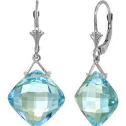 Genuine 17.5 ctw Blue Topaz Earrings 14KT White Gold - REF-36Z3N