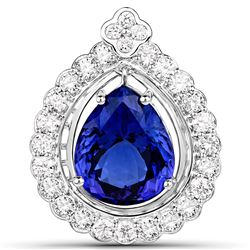 10.39 ctw Tanzanite & Diamond Pendant 18K White Gold - REF-1207X8Y