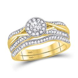 Diamond Bridal Wedding Engagement Ring Band Set 1/2 Cttw 10kt Yellow Gold