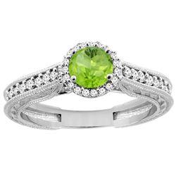 0.99 CTW Peridot & Diamond Ring 14K White Gold - REF-57H2M
