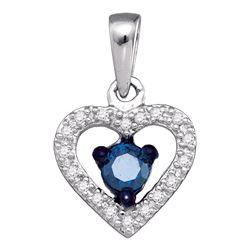 Round Blue Color Enhanced Diamond Solitaire Heart Pendant 1/4 Cttw 10kt White Gold