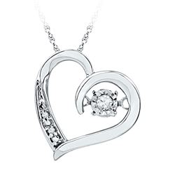Diamond Heart Twinkle Moving Pendant 1/20 Cttw 10kt White Gold