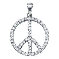 Diamond Peace Sign Circle Pendant 3/4 Cttw 14kt White Gold