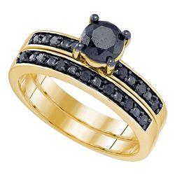 Round Black Color Enhanced Diamond Bridal Wedding Engagement Ring Band Set 1.00 Cttw 10kt Yellow Gol