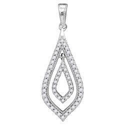 Diamond Oblong Nested Oval Frame Pendant 1/4 Cttw 10kt White Gold