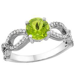 1 CTW Peridot & Diamond Ring 14K White Gold - REF-49M6A