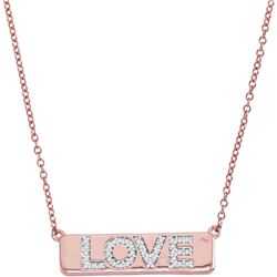 "Diamond Pink Love Bar Pendant Necklace with 18"" Chain 1/8 Cttw 10kt Rose Gold"