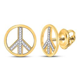 Diamond Peace Sign Circle Stud Screwback Earrings 1/6 Cttw 10kt Yellow Gold