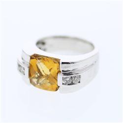 3.81 CTW Citrine & Diamond Ring 14K White Gold - REF-69X2R