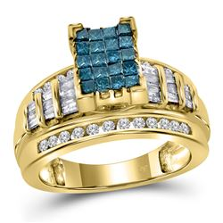 Blue Color Enhanced Diamond Cluster Bridal Wedding Engagement Ring 1.00 Cttw 14kt Yellow Gold
