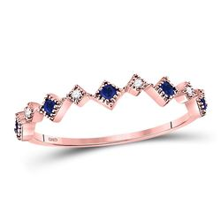 Round Blue Sapphire Diamond Square Stackable Band Ring 1/5 Cttw 10kt Rose Gold