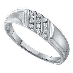 Mens Round Channel-set Diamond Diagonal Triple Row Wedding Band 1/8 Cttw 10kt White Gold