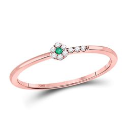 Round Emerald Diamond Slender Stackable Band Ring 1/20 Cttw 10kt Rose Gold