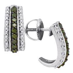 Round Green Color Enhanced Diamond Half J Hoop Earrings 1/3 Cttw 10kt White Gold