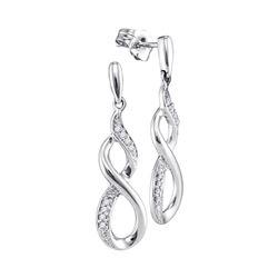 Diamond Infinity Dangle Earrings 1/20 Cttw 10kt White Gold