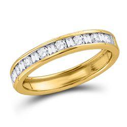 Machine Set Diamond Wedding Anniversary Band 1/4 Cttw 14kt Yellow Gold