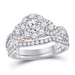 Diamond Bridal Wedding Engagement Ring Band Set 1-1/2 Cttw 14kt White Gold