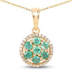 0.58 ctw Zambian Emerald & Diamond Pendant 14K Yellow Gold - REF-37K2T