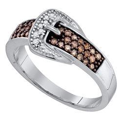 Round Brown Belt Buckle Diamond Band Ring 1/4 Cttw 10kt White Gold