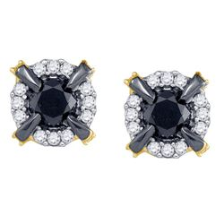 Round Black Color Enhanced Diamond Stud Earrings 1.00 Cttw 10kt Yellow Gold