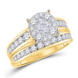 Diamond Bridal Wedding Engagement Ring Band Set 1-3/8 Cttw 14kt Yellow Gold