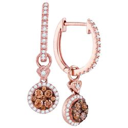 Round Brown Diamond Circle Dangle Earrings 1/2 Cttw 14kt Rose Gold