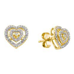 Diamond Heart Cluster Earrings 1/12 Cttw 10kt Yellow Gold