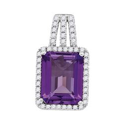 Amethyst Solitaire Diamond-accent Pendant 1/4 Cttw 14kt White Gold
