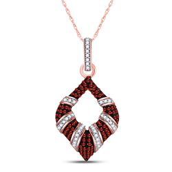 Round Red Color Enhanced Diamond Striped Oval Pendant 1/3 Cttw 10kt Rose Gold