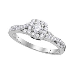 Diamond Solitaire Bridal Wedding Engagement Ring 1/2 Cttw 10kt White Gold
