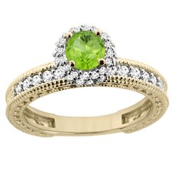 0.80 CTW Peridot & Diamond Ring 14K Yellow Gold - REF-65M8K