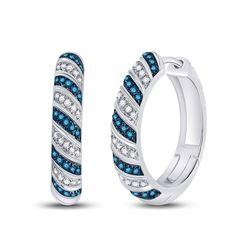 Round Blue Color Enhanced Diamond Hoop Earrings 3/8 Cttw 10kt White Gold