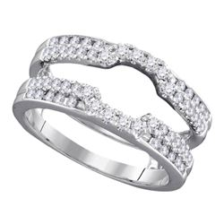 Diamond Wrap Ring Guard Enhancer Wedding Band 1/2 Cttw 14kt White Gold