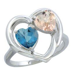 1.91 CTW Diamond, London Blue Topaz & Morganite Ring 10K White Gold - REF-26R8H