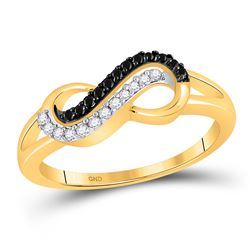 Round Black Color Enhanced Diamond Infinity Ring 1/6 Cttw 10kt Yellow Gold