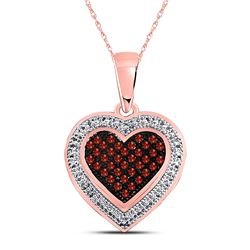 Round Red Color Enhanced Diamond Heart Pendant 1/8 Cttw 10kt Rose Gold