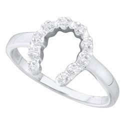 Diamond Simple Lucky Horseshoe Ring 1/20 Cttw 14kt White Gold