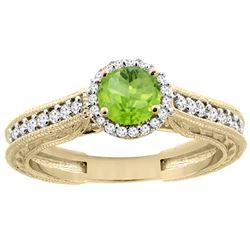0.99 CTW Peridot & Diamond Ring 14K Yellow Gold - REF-57N2Y