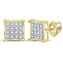 Diamond Square Cluster Earrings 1/10 Cttw 10kt Yellow Gold