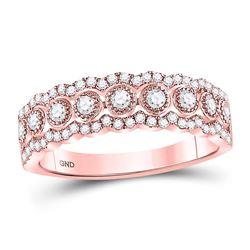 Diamond Vintage-inspired Band Ring 1/3 Cttw 10kt Rose Gold