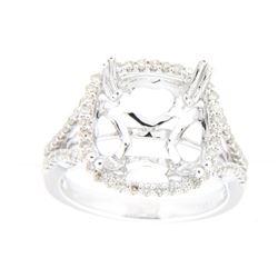 0.47 CTW Diamond Semi Mount Ring 14K White Gold - REF-59N9Y