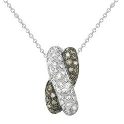 0.56 CTW White & Brown Diamond Pendant 14K White Gold - REF-39X2R