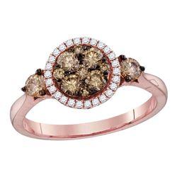 Round Brown Diamond Cluster Bridal Wedding Engagement Ring 3/4 Cttw 14kt Rose Gold