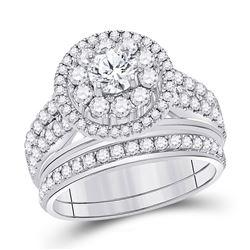 Diamond Bridal Wedding Engagement Ring Band Set 1-1/5 Cttw 14kt White Gold